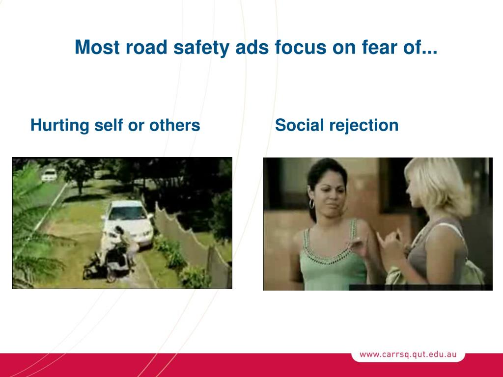 Most road safety ads focus on fear of...