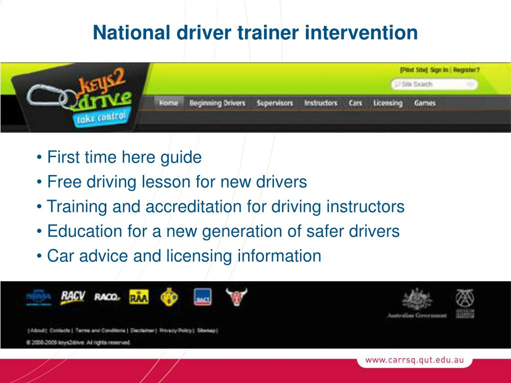 National driver trainer intervention
