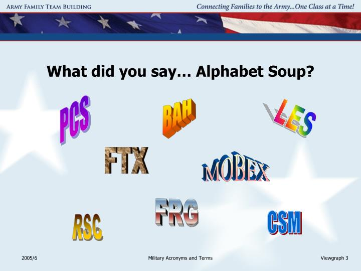 What did you say alphabet soup