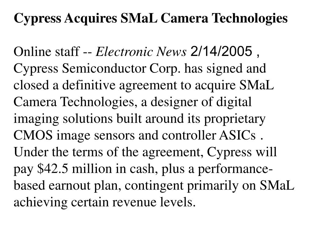 Cypress Acquires SMaL Camera Technologies