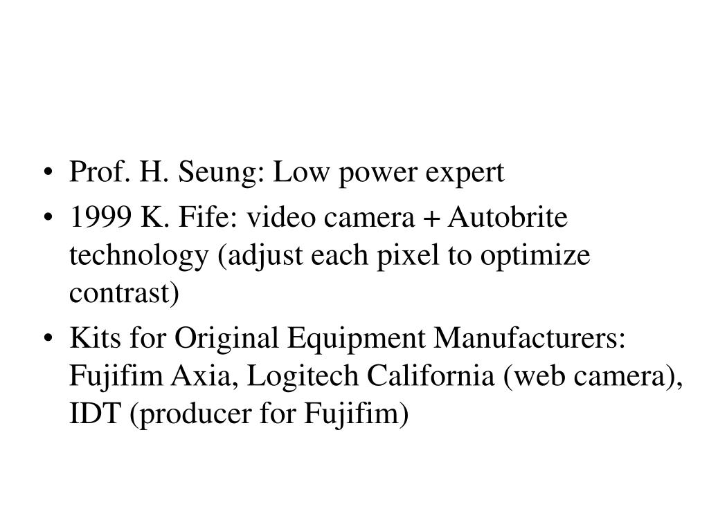 Prof. H. Seung: Low power expert