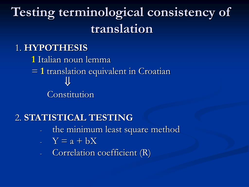 Testing terminological consistency of translation