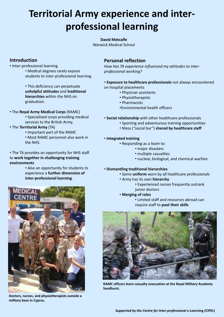 Territorial army experience and inter professional learning