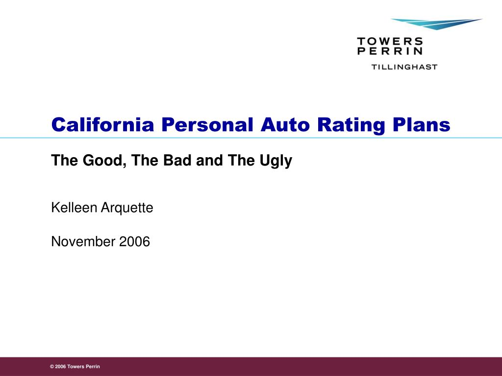california personal auto rating plans l.