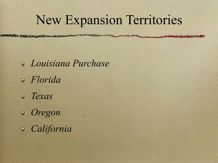 New expansion territories