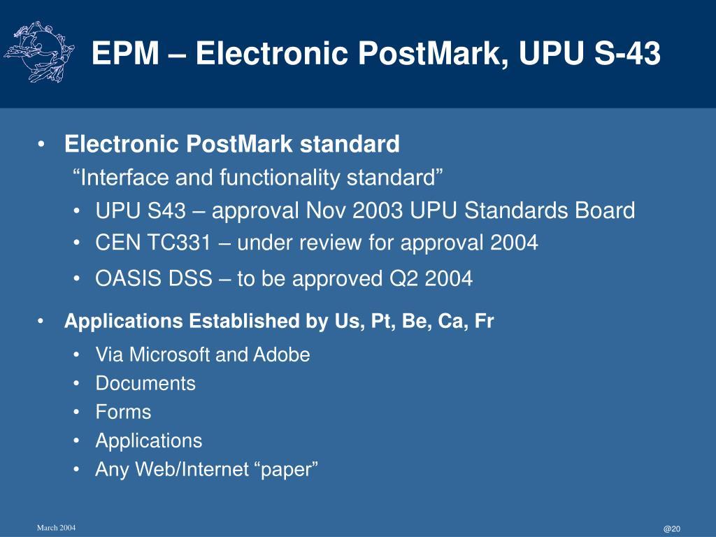 EPM – Electronic PostMark, UPU S-43