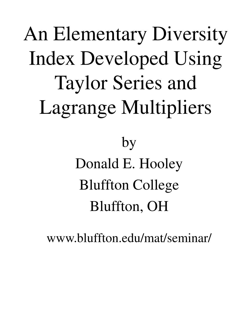 an elementary diversity index developed using taylor series and lagrange multipliers l.