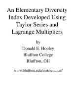 an elementary diversity index developed using taylor series and lagrange multipliers