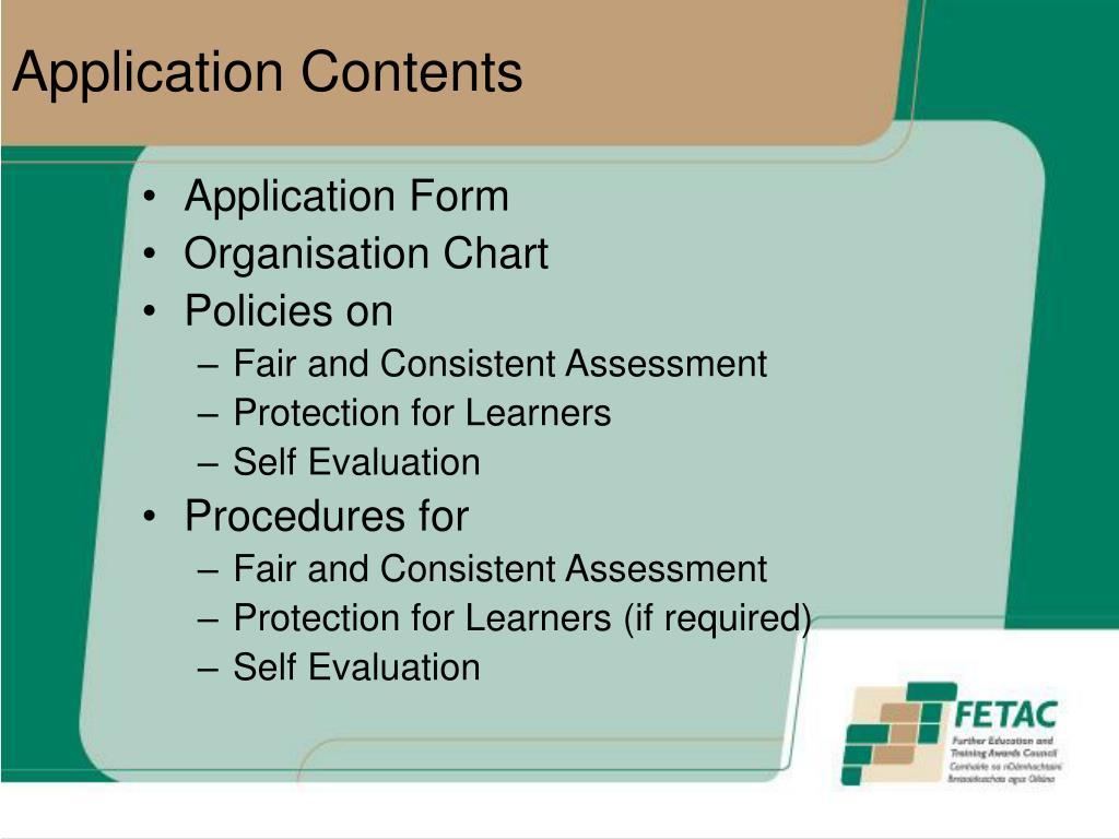 Application Contents