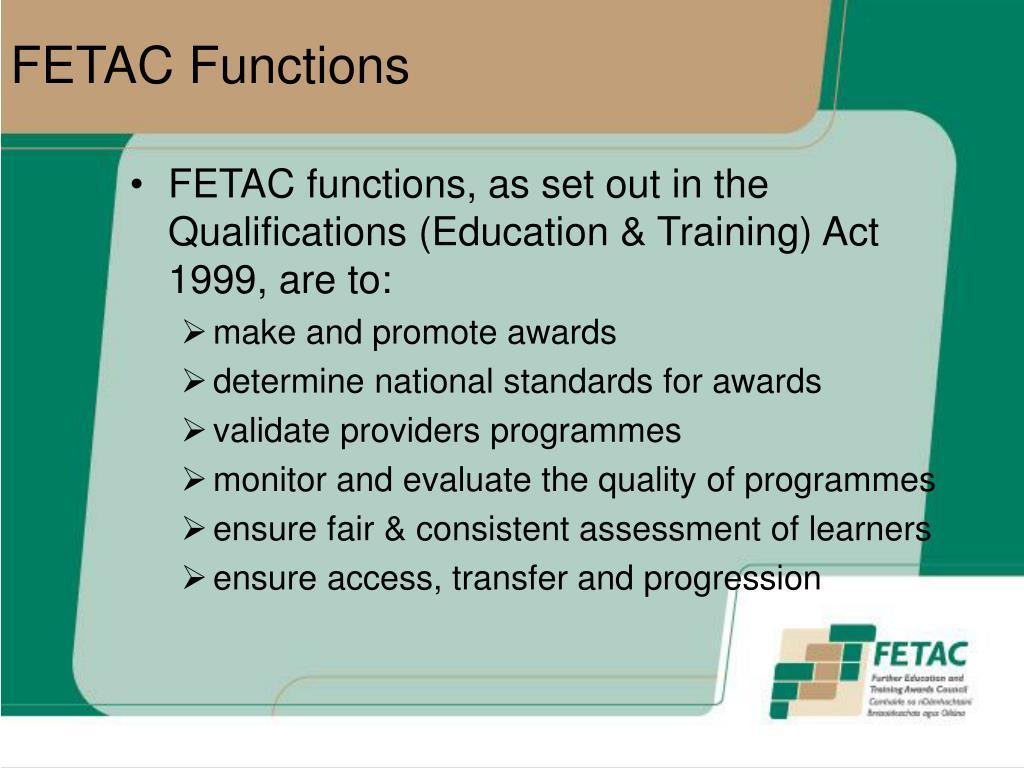 FETAC Functions