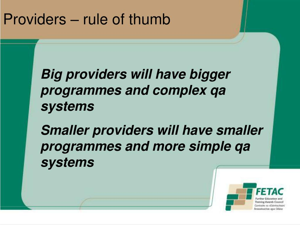 Providers – rule of thumb