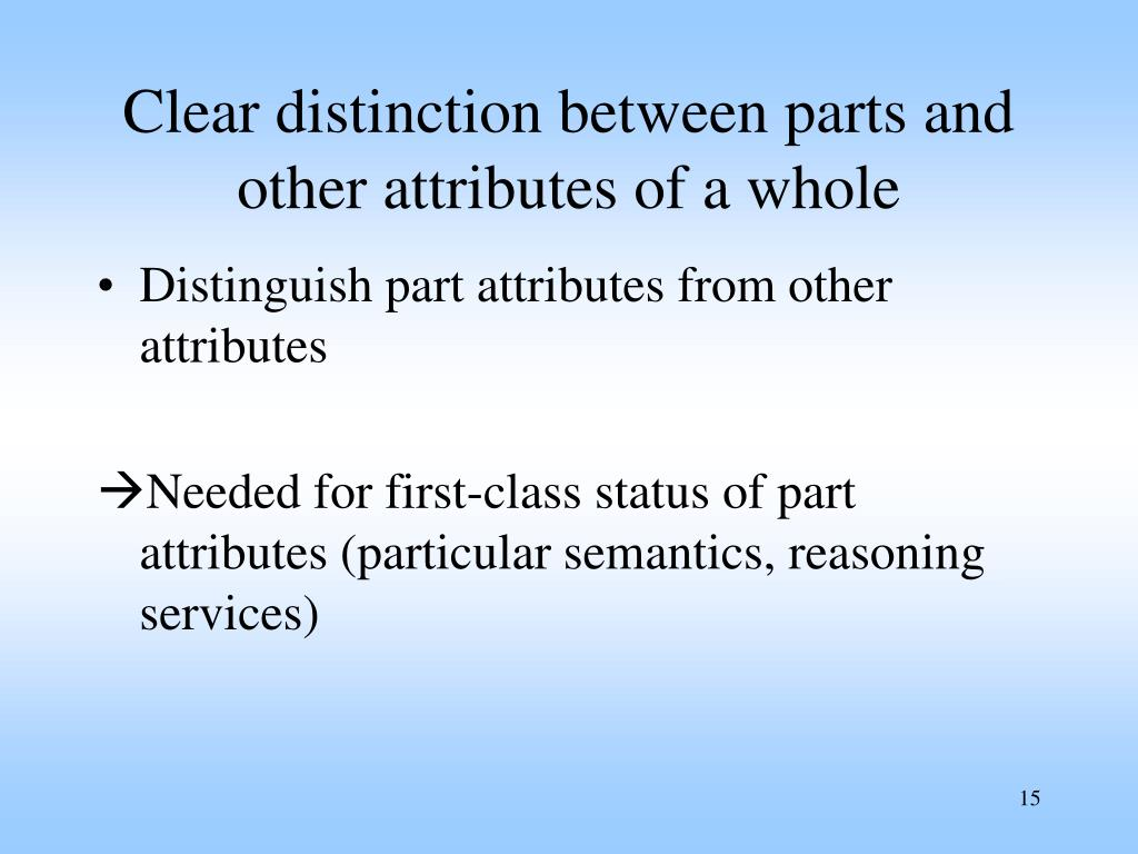 Clear distinction between parts and other attributes of a whole