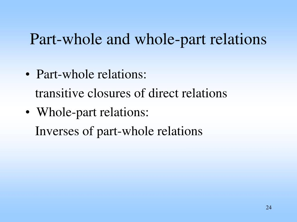 Part-whole and whole-part relations