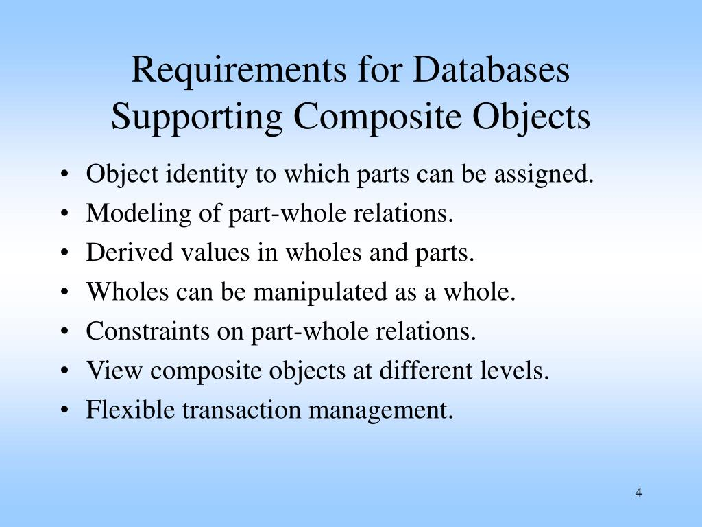 Requirements for Databases