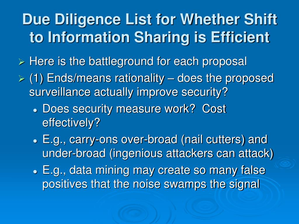 Due Diligence List for Whether Shift to Information Sharing is Efficient