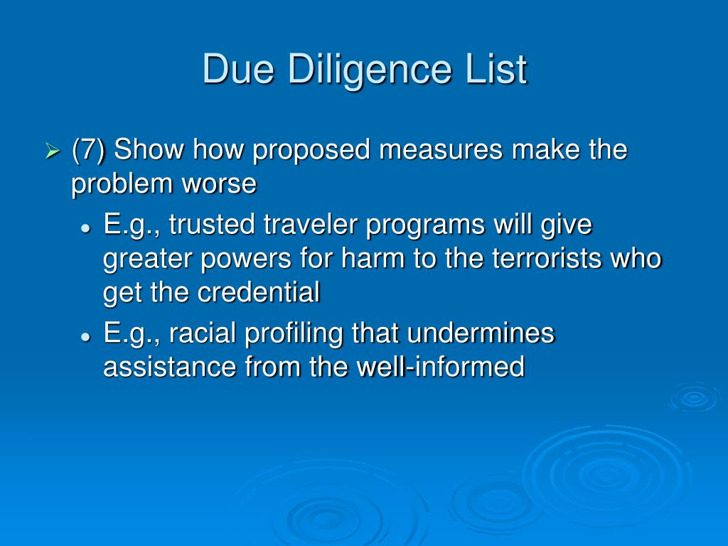 Due Diligence List