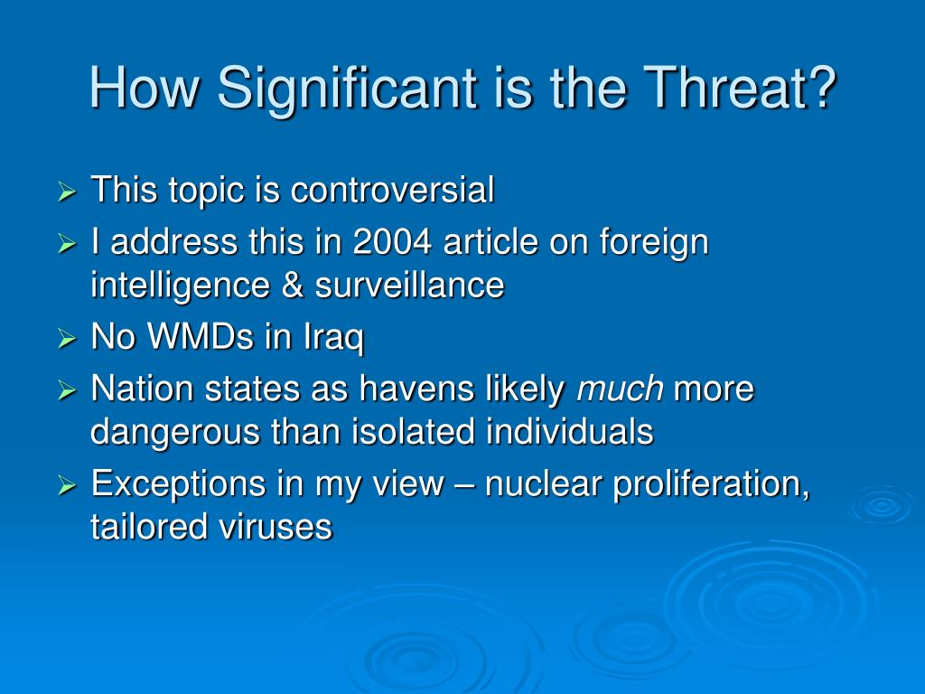 How Significant is the Threat?