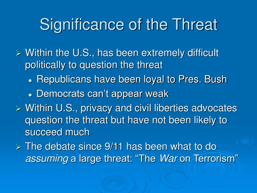 Significance of the Threat