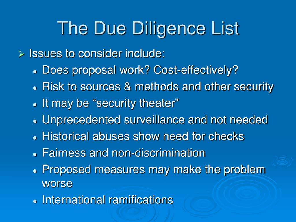 The Due Diligence List
