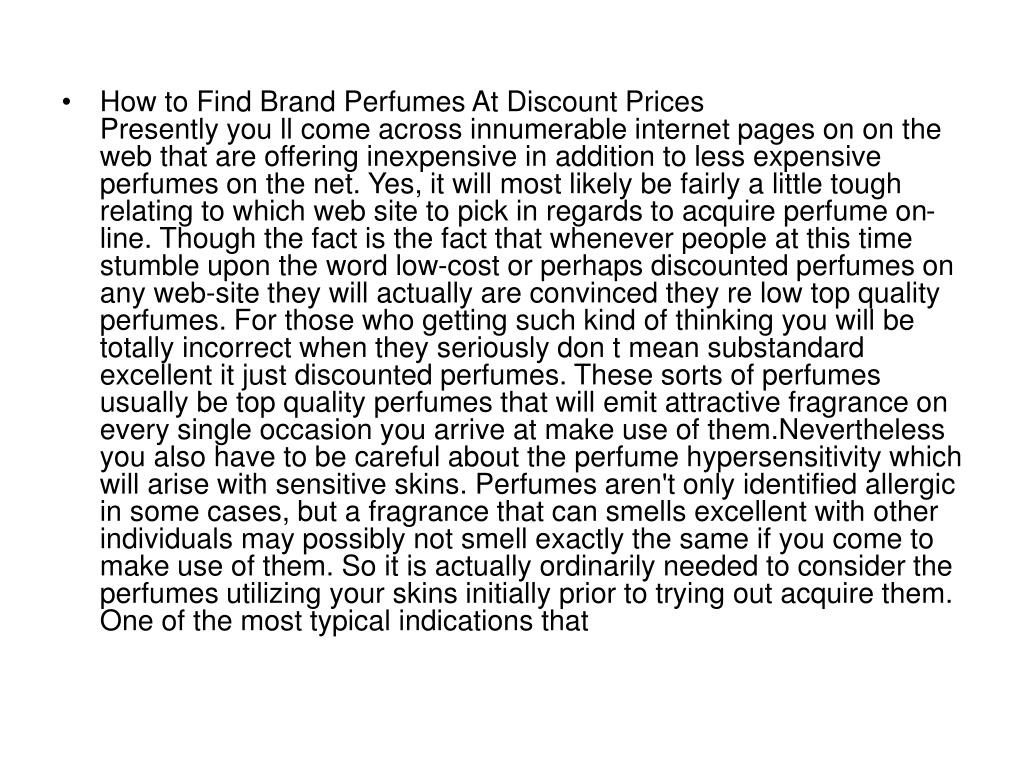 How to Find Brand Perfumes At Discount Prices