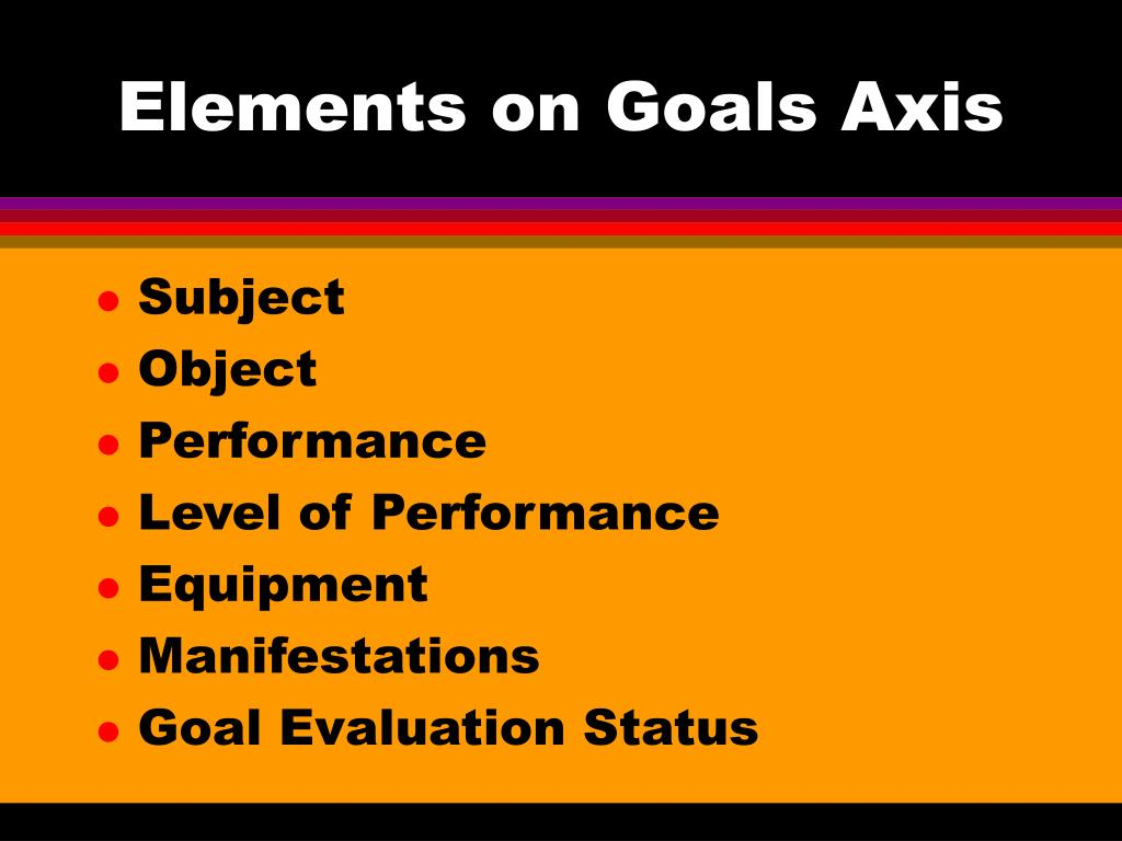 Elements on Goals Axis