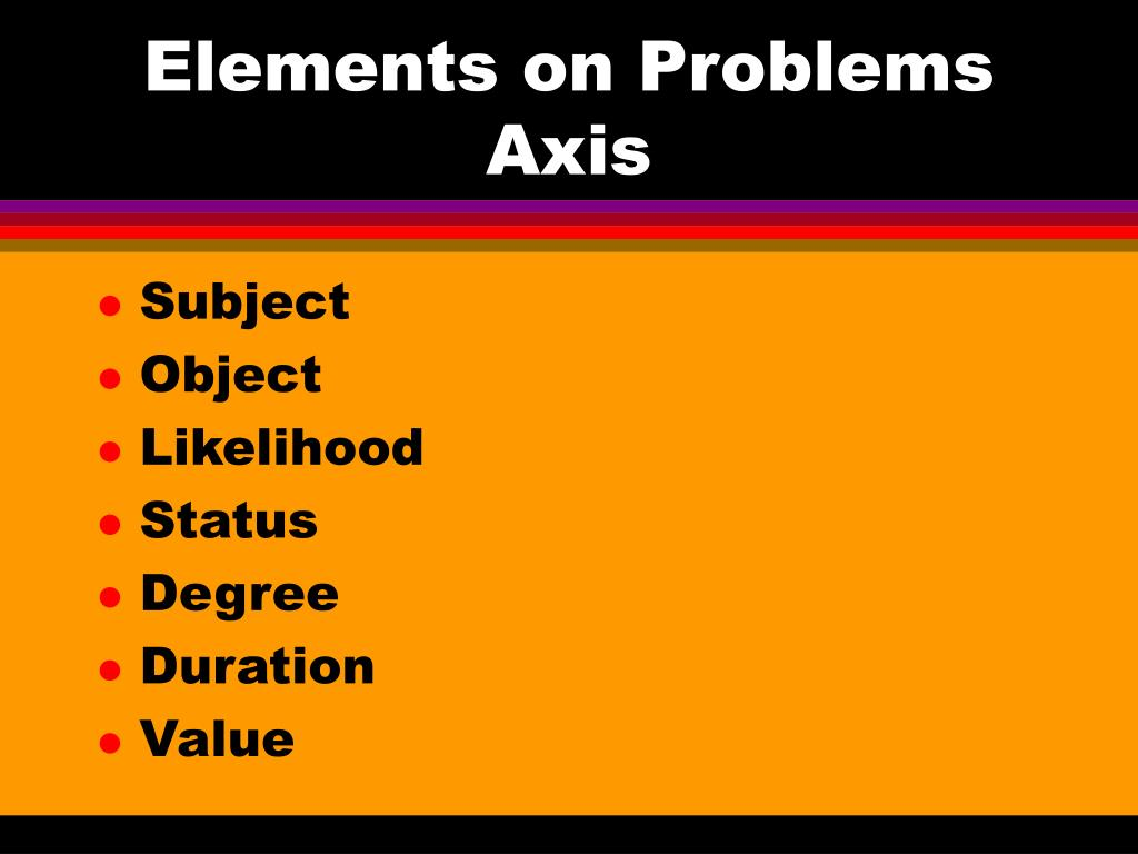 Elements on Problems Axis