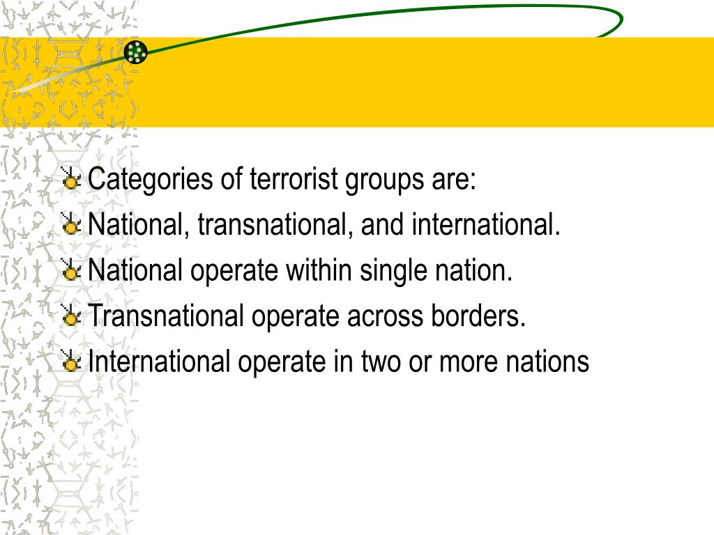 Categories of terrorist groups are: