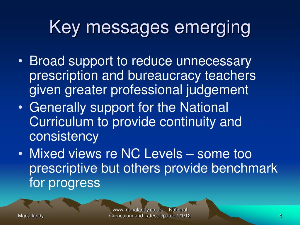 Key messages emerging