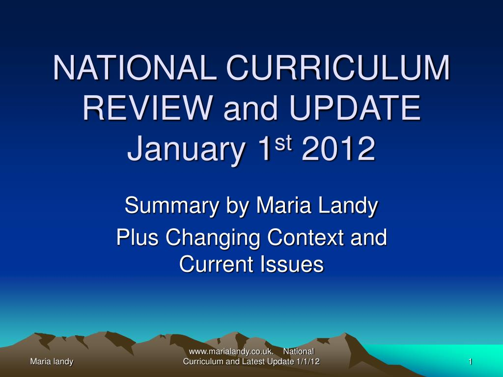 NATIONAL CURRICULUM REVIEW and UPDATE