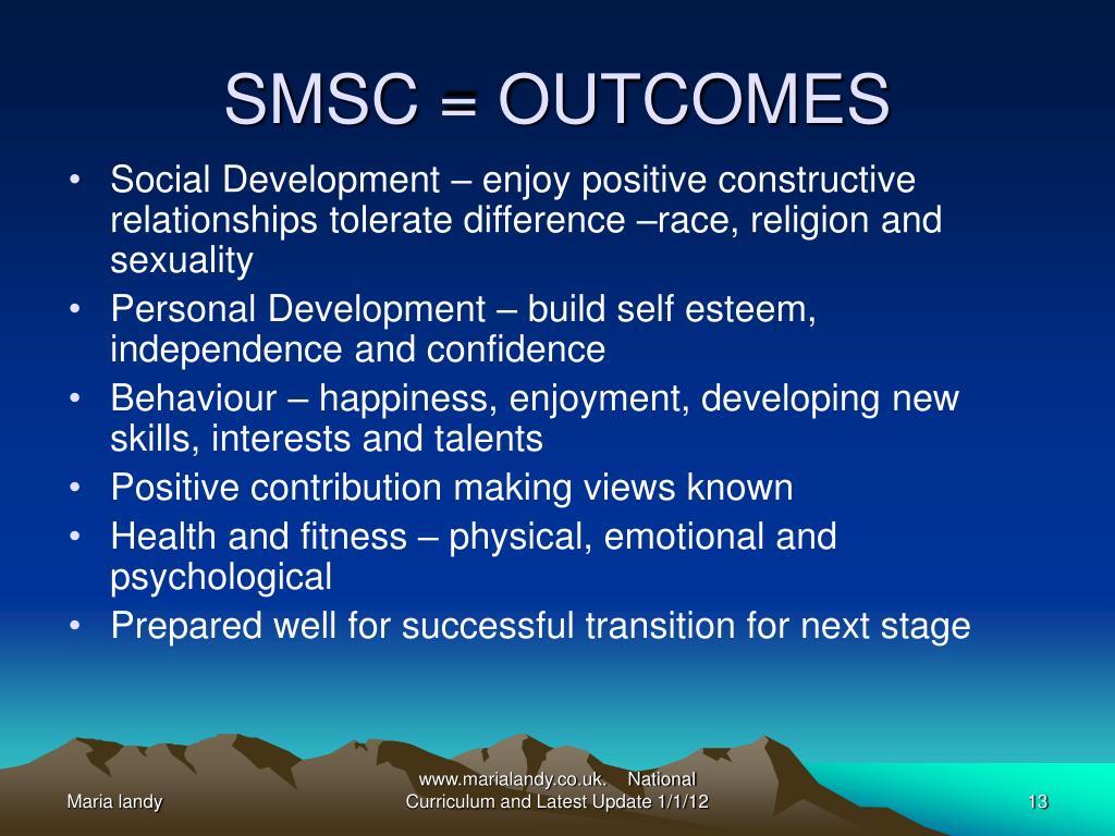 SMSC = OUTCOMES