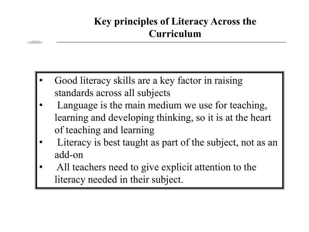 Key principles of Literacy Across the Curriculum