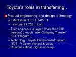 toyota s roles in transferring