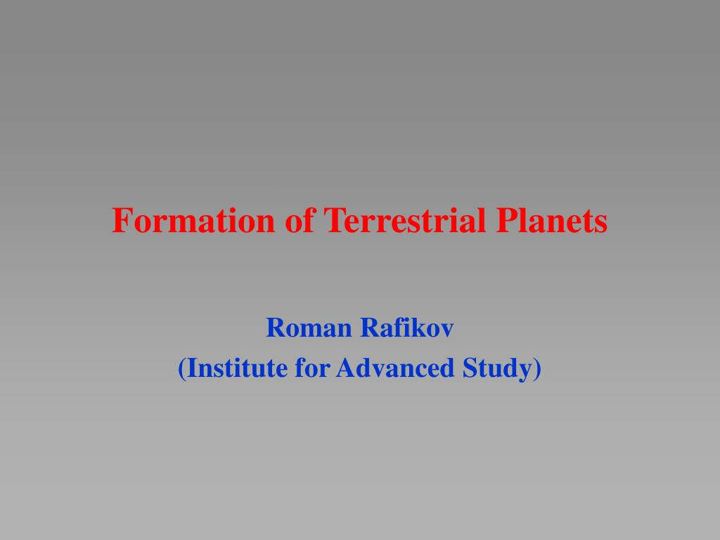 Formation of Terrestrial Planets
