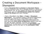 creating a document workspace sharepoint
