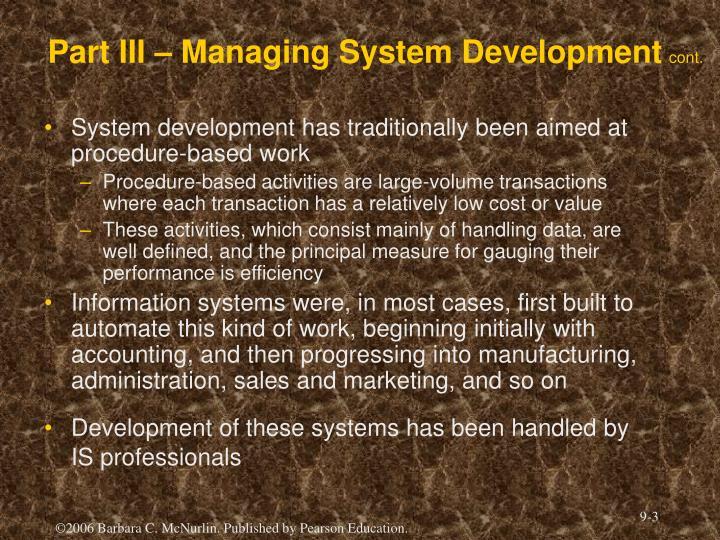 Part iii managing system development cont