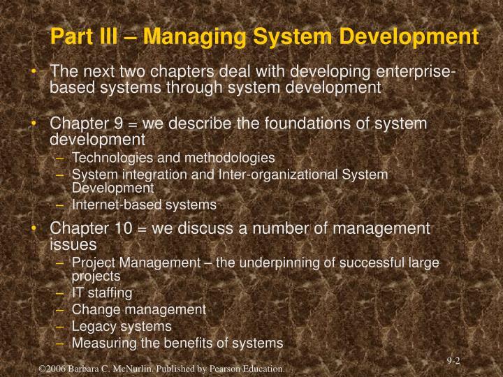 Part iii managing system development
