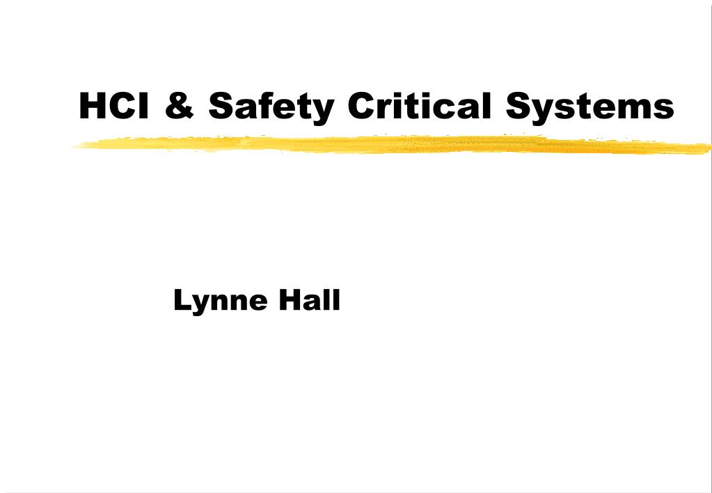 hci safety critical systems