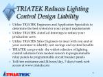 triatek reduces lighting control design liability