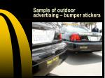 sample of outdoor advertising bumper stickers