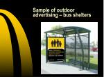sample of outdoor advertising bus shelters