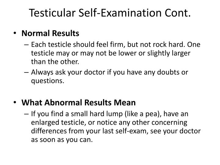 Testicular self examination cont