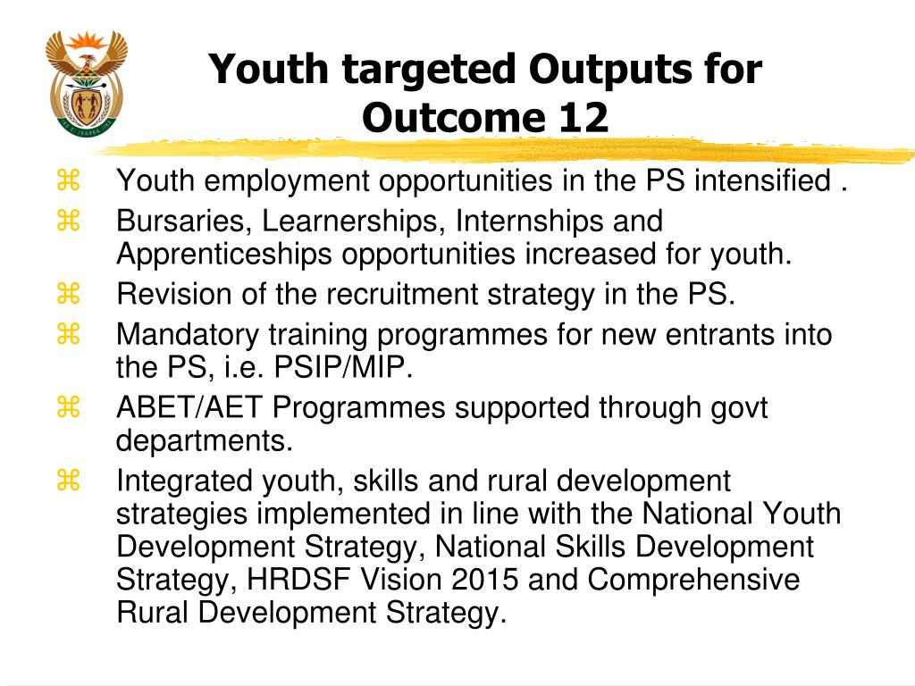 Youth targeted Outputs for Outcome 12