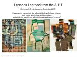 lessons learned from the aiht