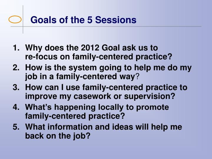 Goals of the 5 sessions