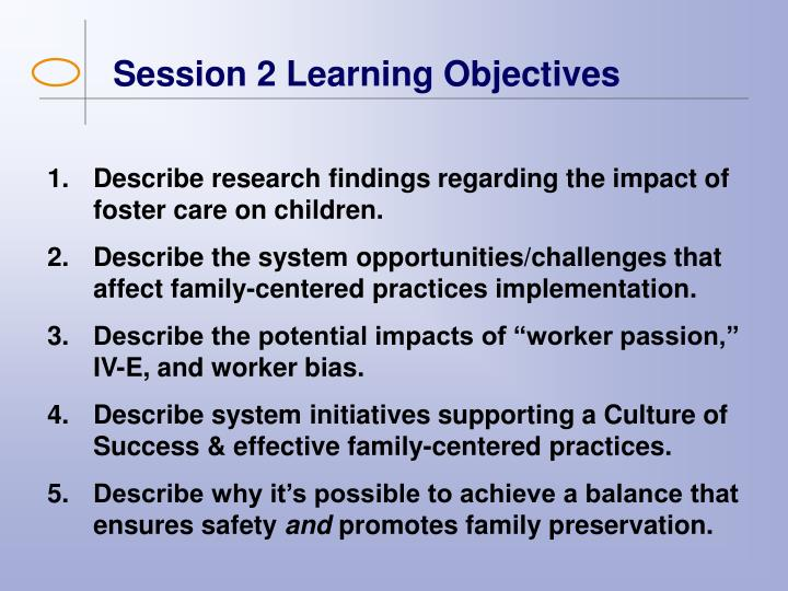Session 2 Learning Objectives