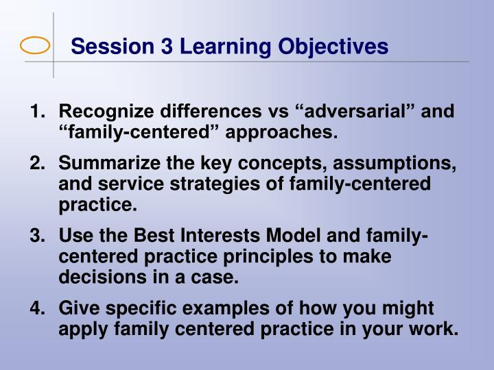 Session 3 Learning Objectives