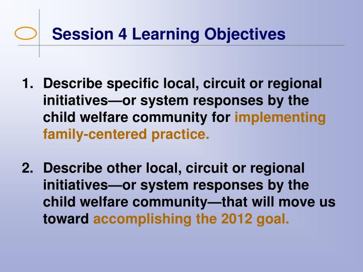 Session 4 Learning Objectives