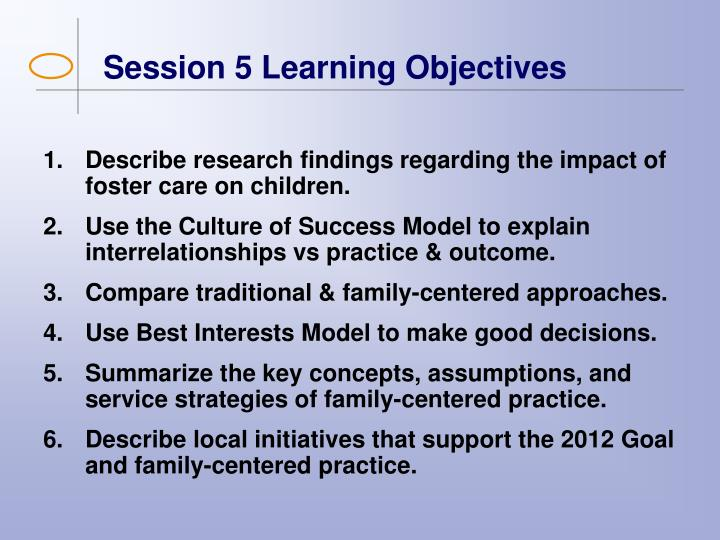 Session 5 Learning Objectives