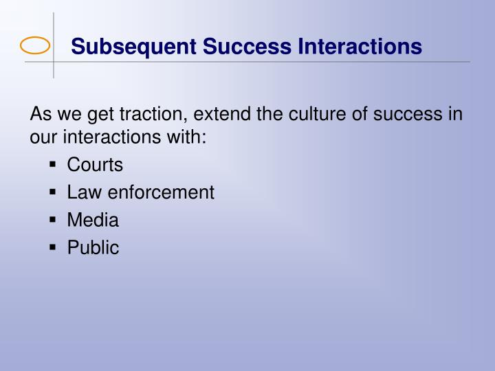 Subsequent Success Interactions