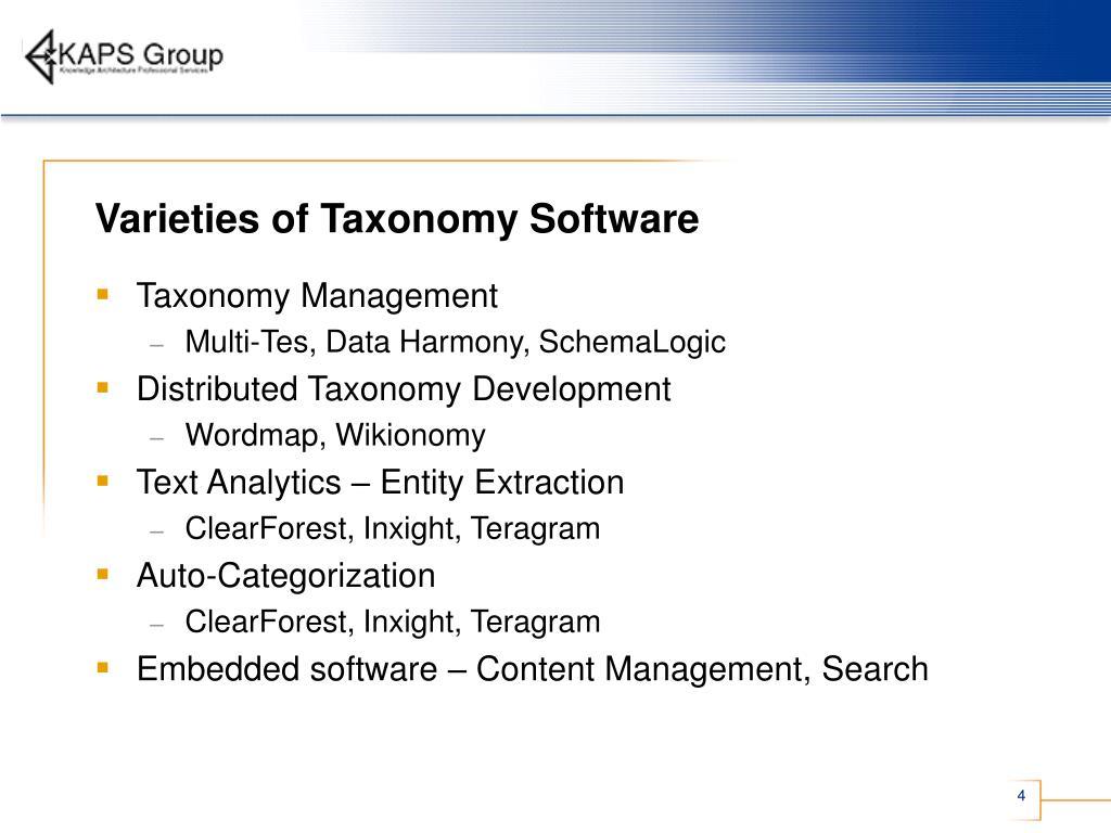 Varieties of Taxonomy Software
